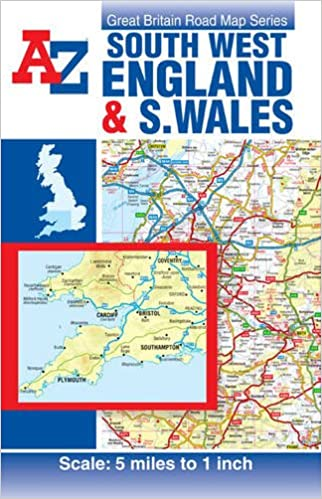 Atlas Map Of England.A Z South West England South Wales Road Map Road Atlas Amazon