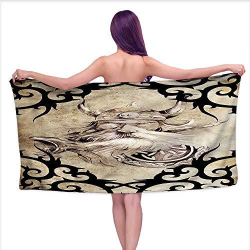 - Hariiuet Bath Towels Prime Viking,Ancient Viking Silhouette,W31 xL63 for Men red