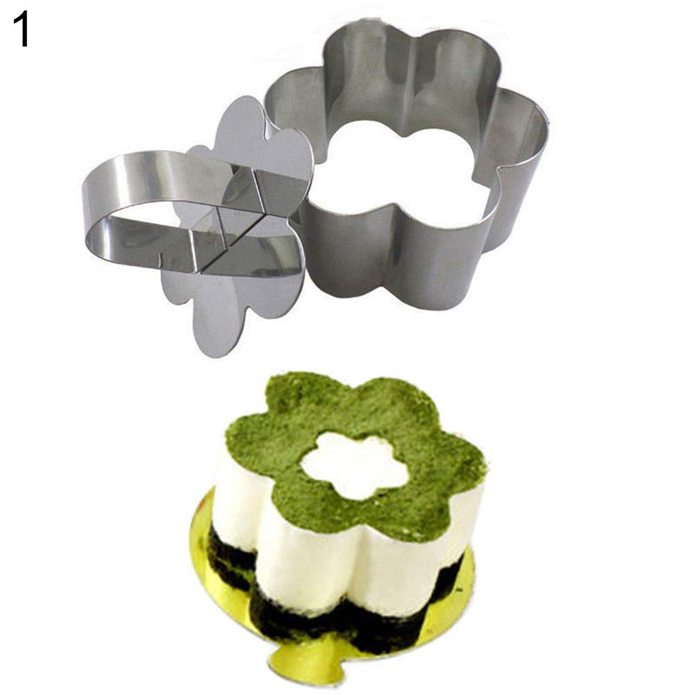 Yamalans Heart Round Square Triangle Shape Stainless Steel Mousse Cake Ring Mold Layer Slicer Baking Bread Cutter Flower