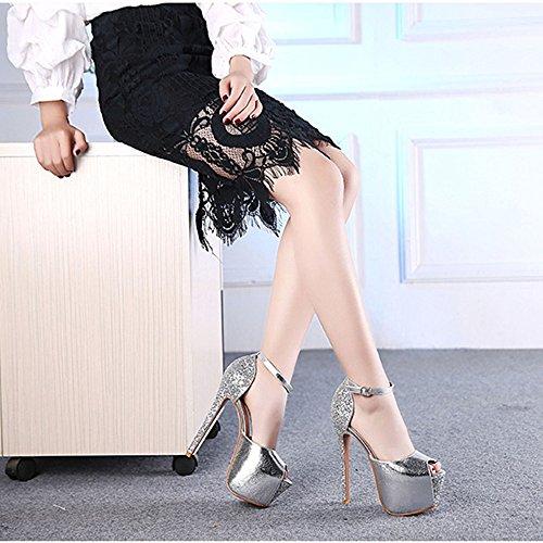 zapatos Plataforma tobillo Toe Pasarela La ZHIRONG de alto Señoras Strappy UK3 Tamaño 5 Plata Wedding 5 EU36 Mujeres de correa Color del Stiletto 14 tacón sandalias Plata Stage Peep CM la Nightclub La ERrqcqZwI