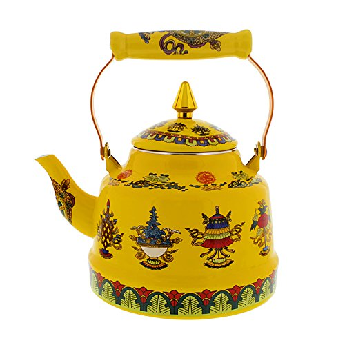 (Cheftor 2.5 qt Enameled Steel Cone Shaped Tibetan Buddhist Style teapot and kettle with 8 Auspicious Tibetan Buddhist Symbols, Yellow)