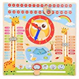 Educational Wooden Clock Toy Kids Children Date Calendar Chart Early Learning Preschool Learning Props Recognition Toy