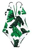 CUPSHE Fashion Best of You Leaves Printing One-Piece Swimsuit Beach Swimwear Bathing Suit (M)