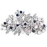 EVER FAITH Austrian Crystal Bridal Hibiscus Cream Simulated Pearl Hair Clip Barrette Blue Silver-Tone