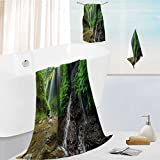 Luxurious Soft and Thick Bath Towels Waterfalls side Valley in Indonesia with Asian Bushes above the Hills Green and Brown Eco Friendly,Bath Towels, Hand Towels, 13.8''x13.8''-11.8''x27.6''-27.6''x55.2''