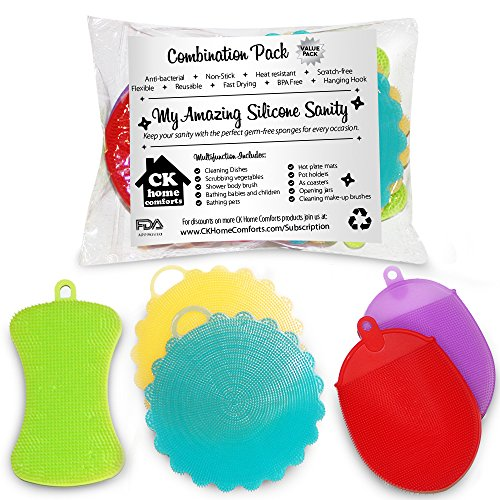 Amazing Silicone Sponges Variety Pack - Heat Resistant, Antibacterial, Mildew Free, Multi-functional - Bath, Body, Child, Baby, Pet, Kitchen, Dish & Vegetable Sponges, Mitt Brushes and Pot Holders (Antibacterial Body Sponge)