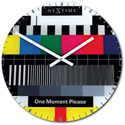 Unek Goods NeXtime Test Page Wall Clock, Round, Decorative, Multi Colored, Glass, Battery Operated