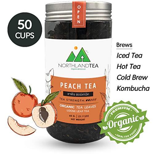 Organic Peach Black Tea - Loose Leaf - Hot Tea, Iced Tea with Honey, Lemon, Soda, Maple Syrup and Etc.- Freshest production in every month - 60g (2.11oz) -