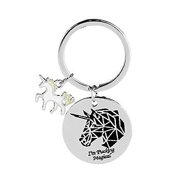 Da.Wa 1X Unicornio Llavero Llavero Animal Llaves para Niñas ...
