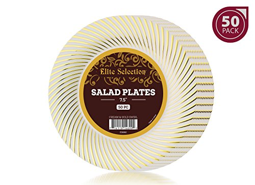 Elite Selection Pack Of 50 Salad / Dessert Disposable Party Plastic Plates Cream Ivory Color With Gold Swirl 7.5-Inch - Swirl Salad Plate Set