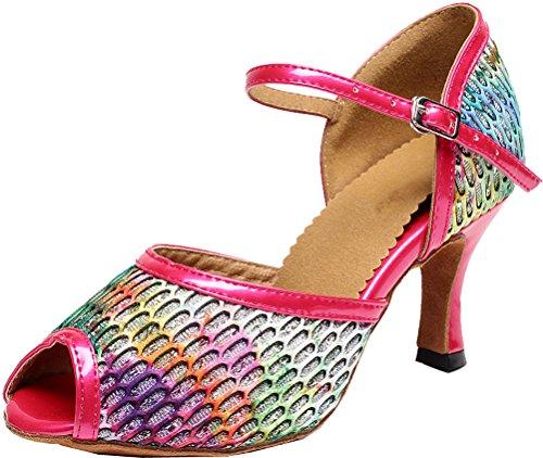 Abby Kvinners Komfort Myk Flerfarget Latin Tango Partiet Pomp Peep Toe Pu  Profesjonelle Danse-sko