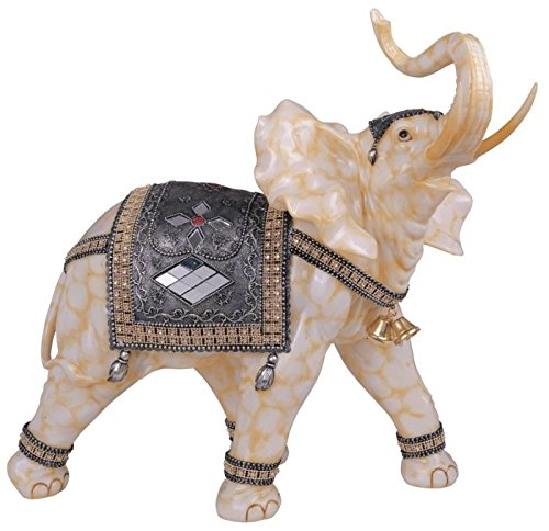 [StealStreet Marble Cream Toned Thai Elephant Figurine Statue (Right), 18