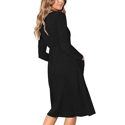 ❤ Vestidos de Mujer,Modaworld Vestido Largo con Cuello en V sólido de Las Mujeres Vestido Largo con Manga Larga de Playa de Bolsillo Casual estidos de ...