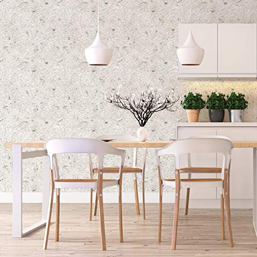 Kathy Kuo Home Textured Birch Bark Industrial Loft Removable Wallpaper