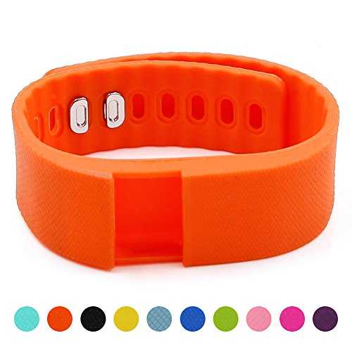 Soft Silicone Band for Teslasz Fitness Tracker in 10 Colors for Option,Orange