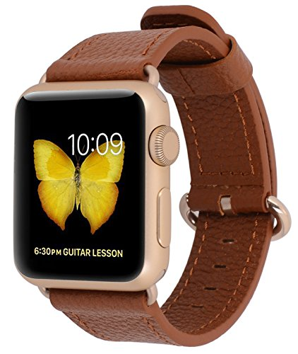 Apple Watch Band 38mm Women - PEAK ZHANG Light Brown Genuine Leather Replacement Wrist Strap with Gold Adapter and Buckle for Apple Watch Series 2/1/Edition/Sport by PEAK ZHANG (Image #1)