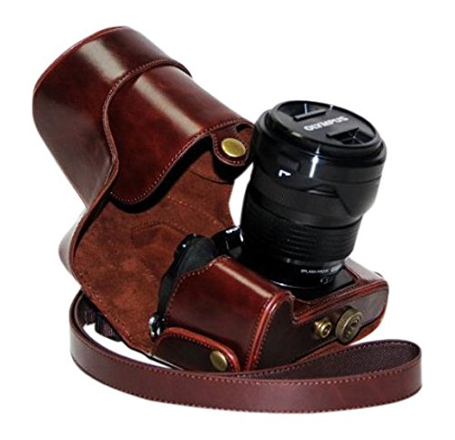MegaGear Leder Kamera, Tasche für Olympus OM-D E-M1 mit Objektiv Digital Kamera (Dunkelbraun)