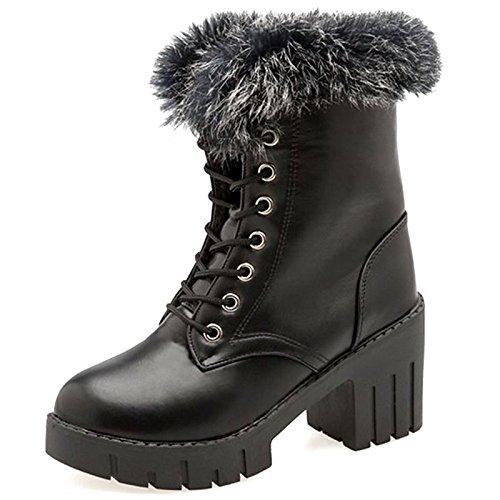 Scarpe Comfort sintetica pu Nero Mid Western per scarponi tallone tonda Black inverno Cowboy pelliccia Calf Casual Stivali donna Chunky Stivali punta HSXZ wgpdYw