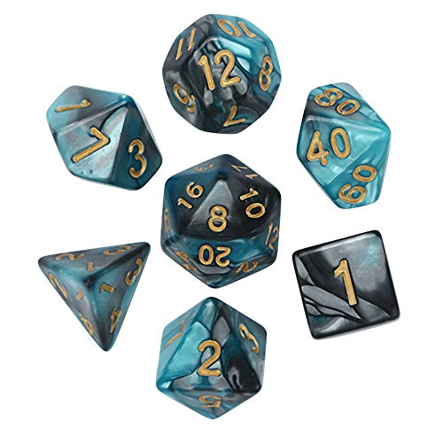- Huaa Polyhedral 7-Die Dice Set for Dungeons and Dragons with Black Pouch