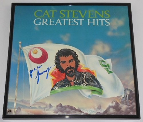 Cat Stevens Yusuf Islam Greatest Hits Signed Autographed Lp Record Album with Vinyl Framed Loa