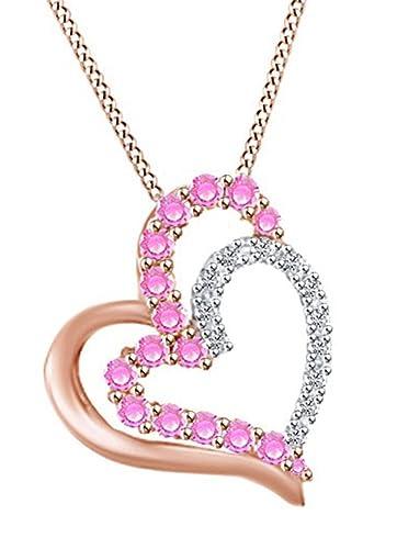 Amazon.com: 10 K Amarillo Oro Collar con rosa zafiro y ...
