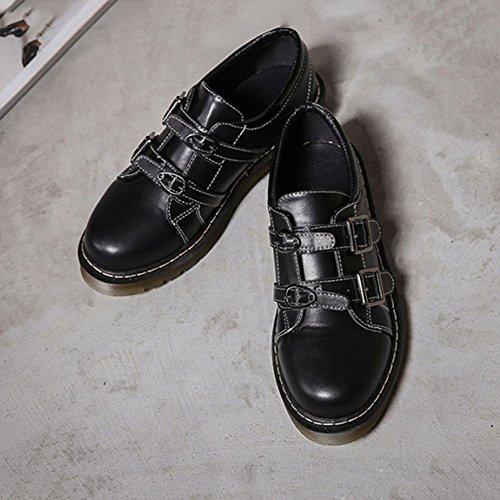 T-juli Kvinna Mode Oxfords Skor - Bekväma Låg Klack Rund Tå Spänne Skor