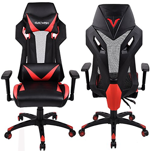 Elecwish Pu Leather Gaming Chair Red Gaming Chairs
