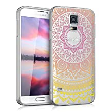 kwmobile Crystal TPU Silicone Case for Samsung Galaxy S5 / S5 Neo / S5 LTE+ / S5 Duos in Design Indian sun yellow dark pink transparent