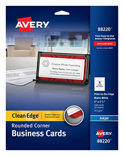 Avery Two-Side Printable Clean Edge Rounded Corner Business Cards for Inkjet Printers, White, Pack of 160 -