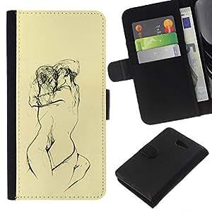 Stuss Case / Funda Carcasa PU de Cuero - Amarillas Lovers Sketch Lápiz Desnudo - Sony Xperia M2