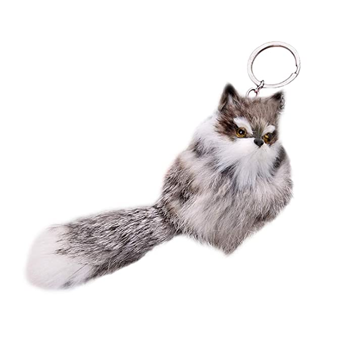 Amazon.com: Funbase Furry 3D Fox Keychain With Tail Plush ...