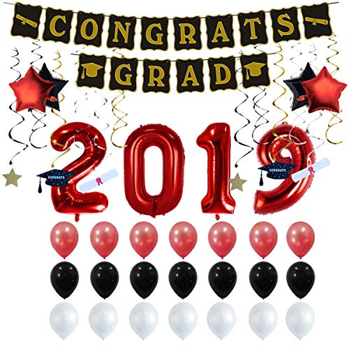 Graduation Party Supplies 2019 Graduation Party Decorations Graduation Banner Congratulations Banner Hang Swirls and Black & Red 2019 Balloons ()