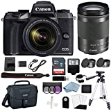 Canon EOS M5 Digital Camera With 18-150mm f/3.5-6.3 IS STM Lens + Deluxe Accessory Bundle – Includes EVERYTHING You Need To Get Started
