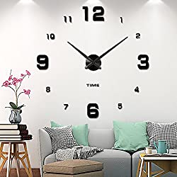 Vangold Modern Mute DIY Frameless Large Wall Clock 3d Mirror Sticker Big Watches Home Office Decorations (2-Year Warranty)