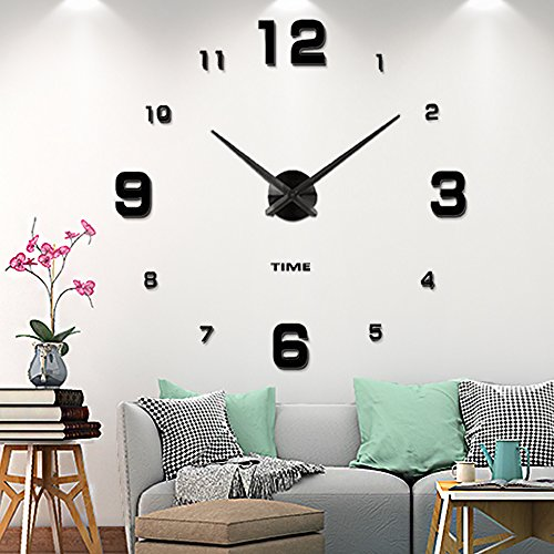 DIY Frameless Large Wall Clock 3d Mirror Sticker Big Watches Home Office Decorations (2-Year Warranty) (Family Large Wall Clock)