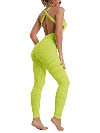 Amitafo Pantalones Mono de Yoga Fitness para Mujer Deportiva Jumpsuit Sin Mangas Halter Leggings