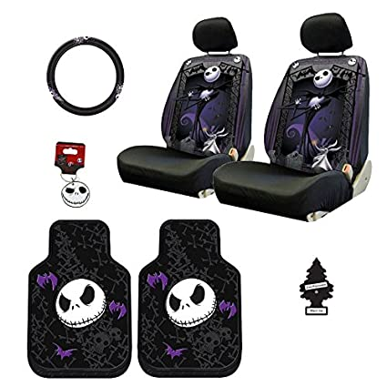 Yupbizauto New Design Nightmare Before Christmas Jack Skellington Car Truck SUV Seat Covers Rubber Floor Mat