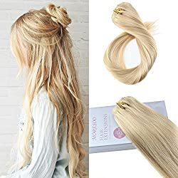 Moresoo 16 Inch Clip on Extensions Human Hair Remy Hair Double Weft Hair Extensions Real Hair Color #16 Golden Blonde Highlighted with #22 Blonde Human Hair Extensions 7pcs
