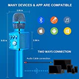 BONAOK Wireless Bluetooth Karaoke Microphone,Valentine's Day Gift 3-in-1 Portable Hand Speaker for iPhone/Android/iPad/Sony,PC and All Smartphone(Blue)