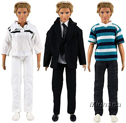 Miunana 3 Trajes de Ropa Vestir Casual Chaqueta Camisa Pantalones para 12 Pulgadas Muñeca
