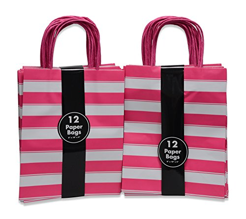 Set of 2 12-Pack Pink and White Striped Kraft Gift Bags,with Raffia Handles |Present Bags for Parties, Birthdays,Pink-Themed Events | Baby Girl Shower |Small Or Medium Sizes |Food-Safe Ink - Kraft Raffia