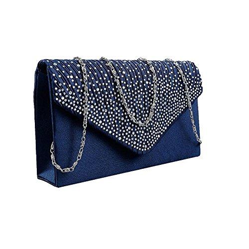 Women Evening Satin Bridal Diamante Ladies Clutch Bag Party Prom Envelope Navy Blue