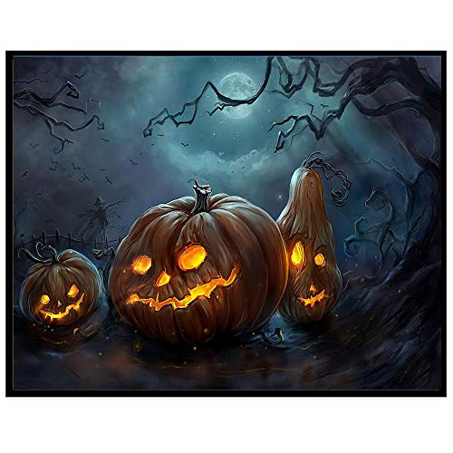 Full Drill - Halloween Pumpkin Ghost - 5D DIY Diamond Painting by Number Kits Franterd Halloween Handcraft Arts Craft Home Decor (A)