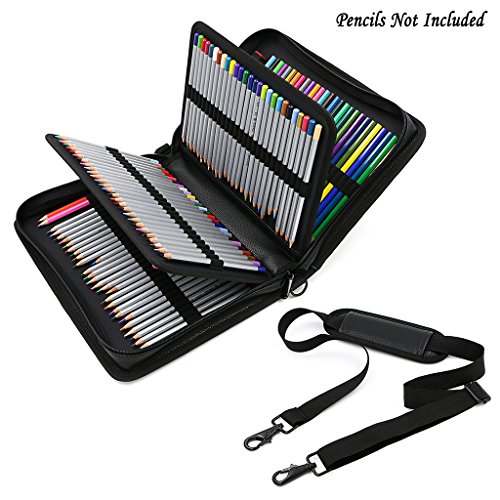 BTSKY Deluxe PU Leather Pencil Case for Colored Pencils - 160 Slot Pencil Holder (Black)