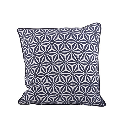 SARO LIFESTYLE 1131 Andalusia Collection Navy Blue Tile Design Down Filled Cotton Throw Pillow, 18