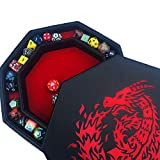 Fantasydice- RED - Fire Dragon - Dice Tray - 8'' Octagon with Lid and Dice Staging Area- Holds 5 Sets of Dice(7 / Standard) for All Tabletop RPGs Like D&D , Call of Cthulhu, Shadowrun.