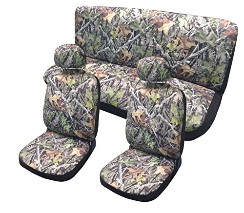 aves Seat Cover Set - Front Rear Headrests Steering Wheel Cover & Seat Belt Pads Camouflage - Premium Padded Auto Car Truck Interior Set (Premium Oak Trucks)