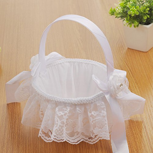 Leiyini Wedding Flower Girl Basket Elegant Large Satin Flower Basket Ceremony Party Decoration (D)