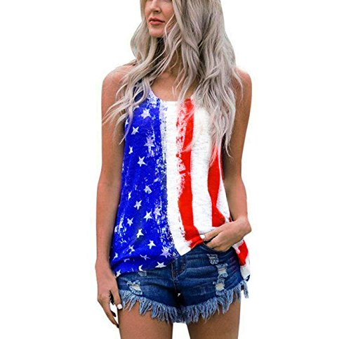 DRAGON VINES Womens American Flag Tank Top 4th July Patriotic USA Flag Stripe Printed Stars Sleeveless Shirt Vests Tops Blouse M