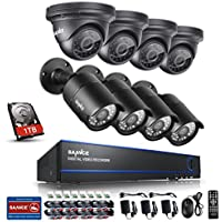 Sannce 8CH 1080P AHD Security DVR Recorder with 1TB Hard Drive + 8xHD 2.0MP(19201080) Outdoor Fixed Surveillance Cameras, Super night vision, IP66 Weatherproof Metal Housing, Motion Detection